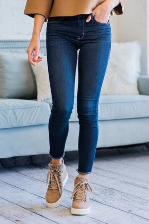 Set The Tone Mid Rise Skinny Jeans : Dark Blue