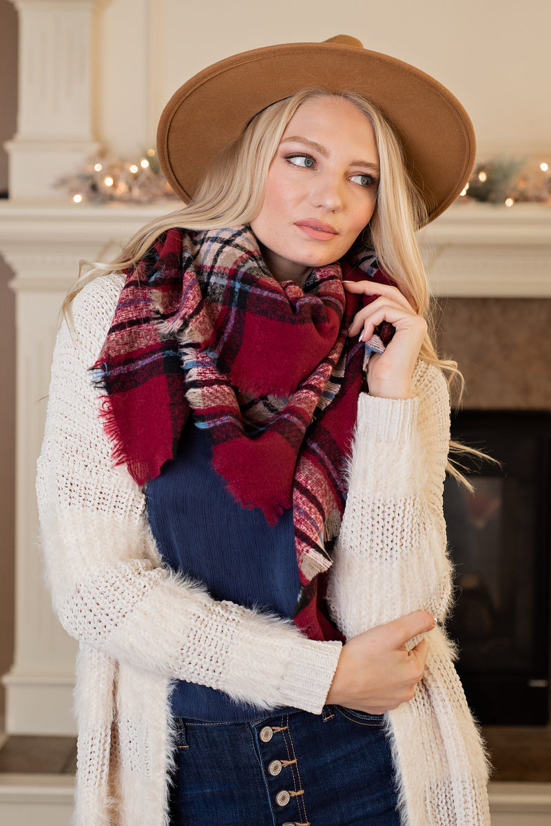 Classic Style Blanket Scarf : Burgundy, Black, Blue