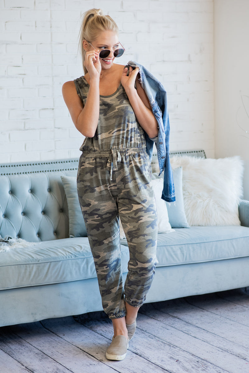 Hidden Talents Camo Overalls : Green