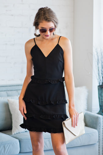 Reason To Flaunt Ruffle Dress : Black