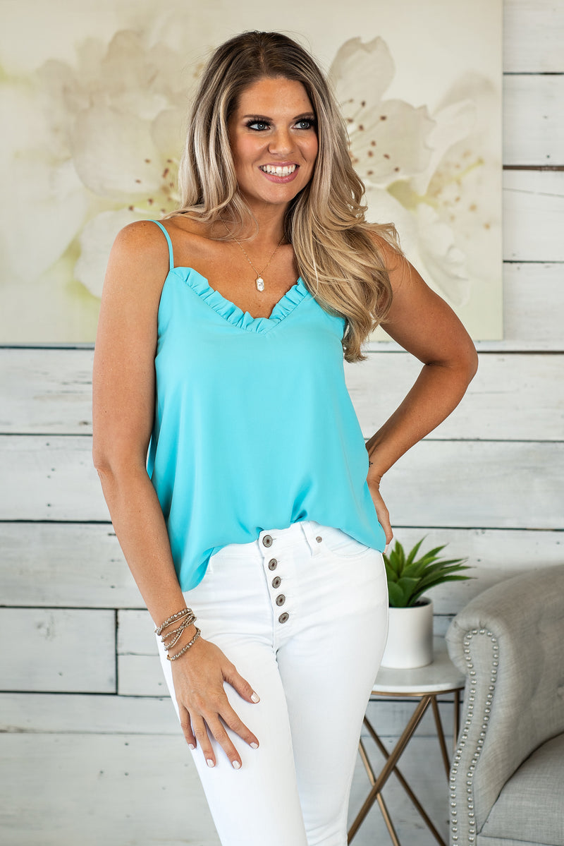Seaside Twist Ruffle Tank : Bright Aqua