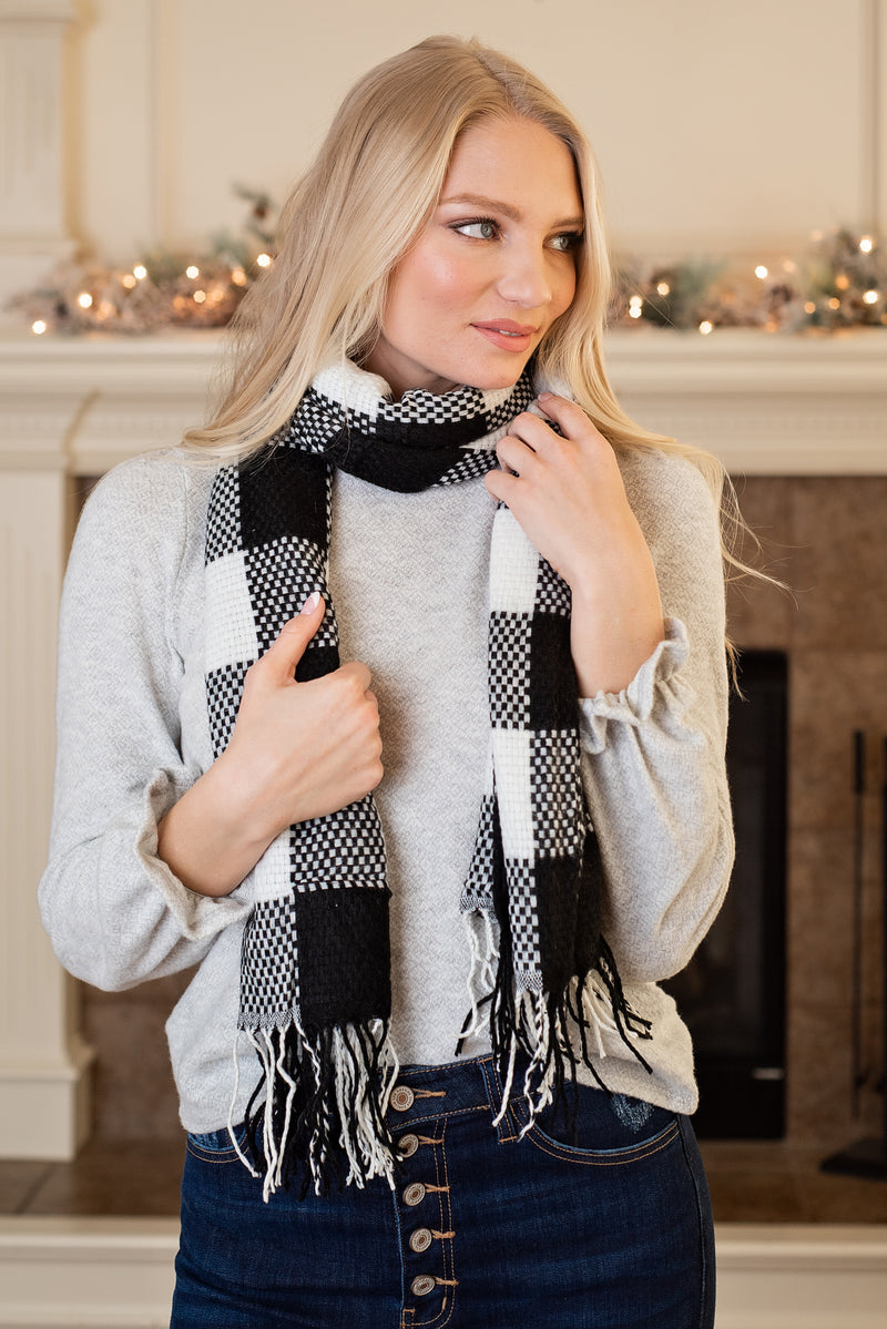 Black & White Plaid Long Fringe Scarf : Black & White