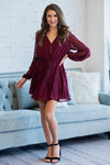 Vineyard Visit Swiss Dot Dress : Cranberry