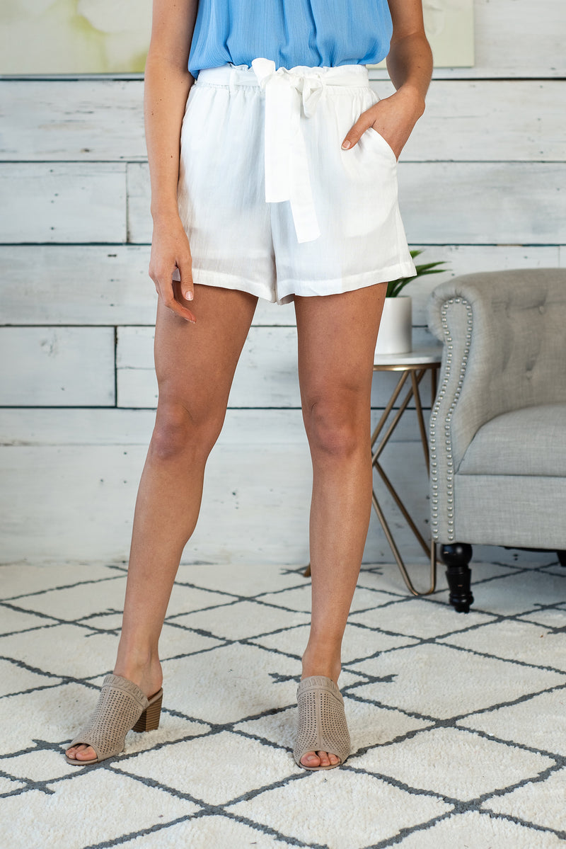 Sunshine Forecast Tie Front Shorts : Off White
