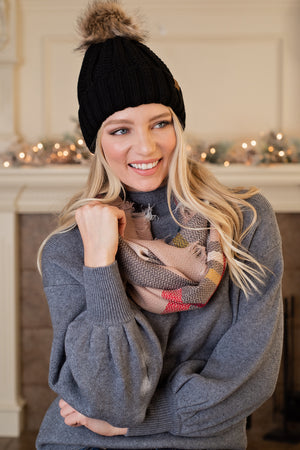 Snuggle Up Infinity Scarf : Taupe,Dark Grey,Red,White