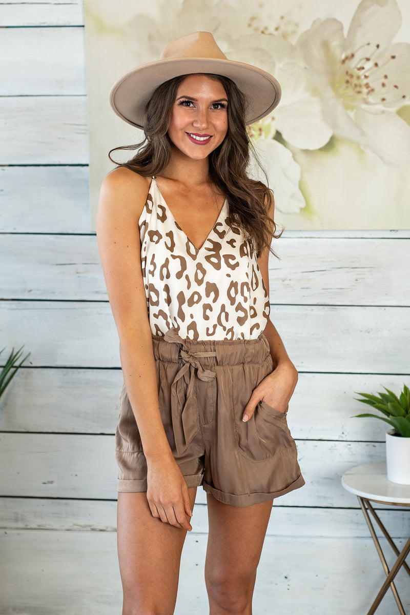On Safari Animal Print Top : Mocha/Cream