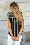 Lasting Impression Striped Top : Black