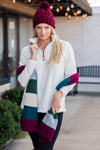 Keeping It Cozy Pineapple Sherpa Fleece Pullover : Ivory