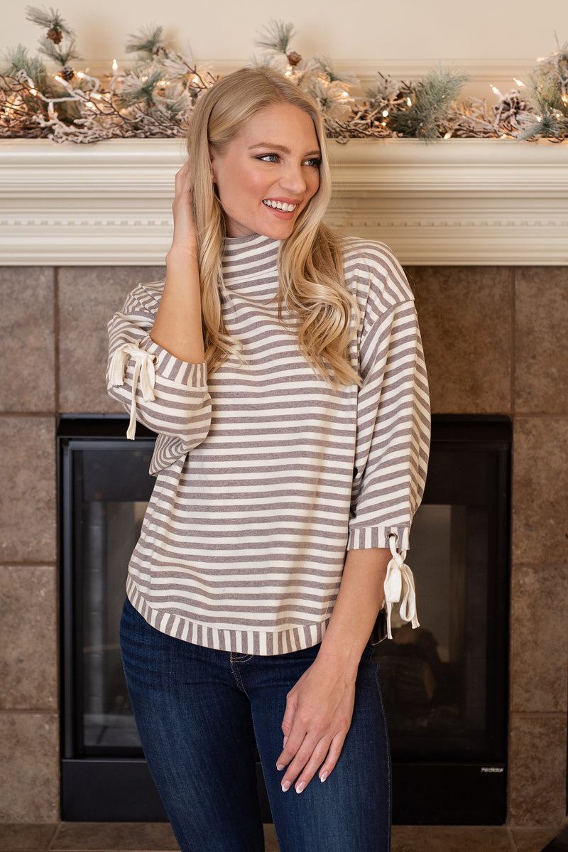 Stroll With Me Stripe Cowl Neck Top : Lavender