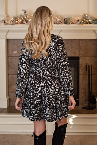 Downtown Elegance Long Sleeve Printed Dress : Black