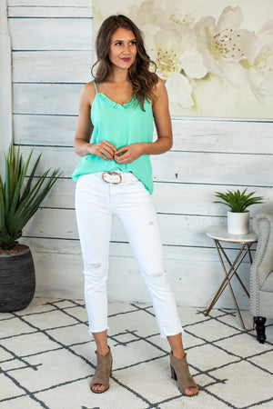 Seaside Twist Ruffle Tank : Mint