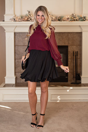 Lets Go Dancing Floaty Ruffle Skirt : Black