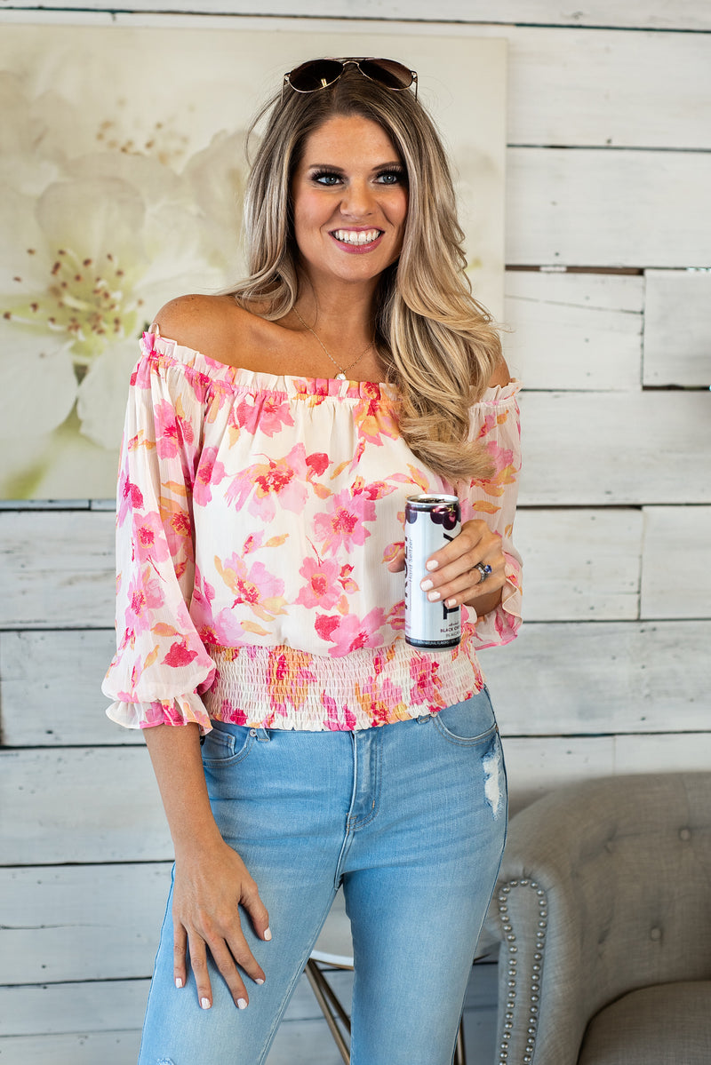 Tiki Punch Floral Smocked Top : Pink/Orange/Cream