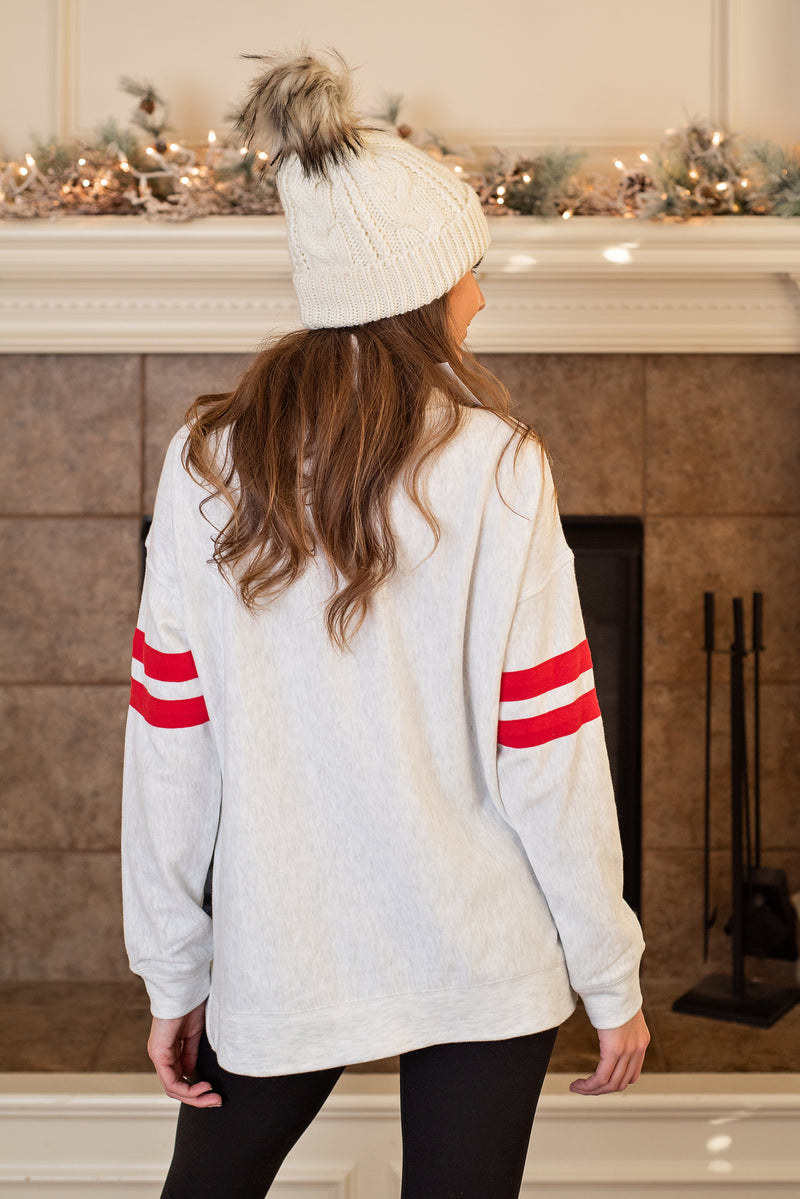 KC Arrowhead Oversized Cowl Neck Sweatshirt : Grey Fleck