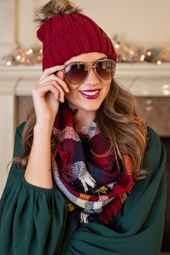 Snuggle Up Infinity Scarf : Deep Red,Navy,Camel