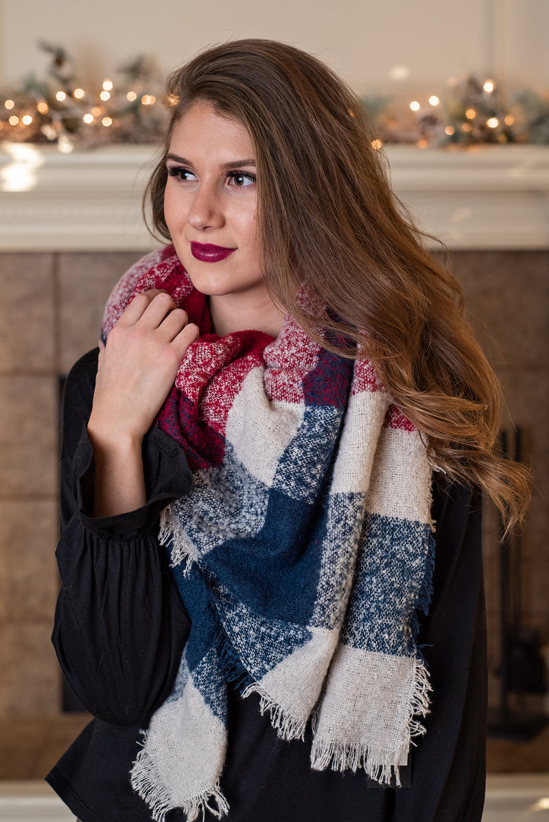 Classic Style Blanket Scarf : Red,White,Blue