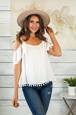 Often Adored Pompom Cold Shoulder Top : Off White