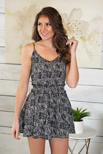 Lets Have Fun Spaghetti Strap Romper : Black