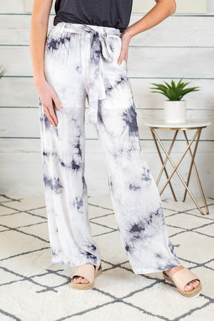 Ocean Breezes Tie Dye Flowy Pants : Grey/White