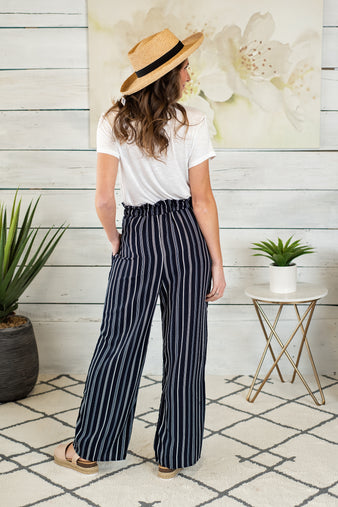 Navy Pier Wide Leg Paperbag Striped Pants : Navy