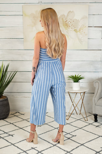 Beach Club Smocked Cropped Jumpsuit: Light Denim