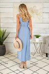 Seashells by the Water Striped Maxi Dress : Denim Blue