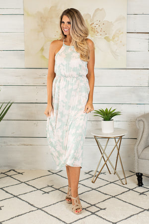 Tropical Paradise Sleeveless Maxi Dress : Mint