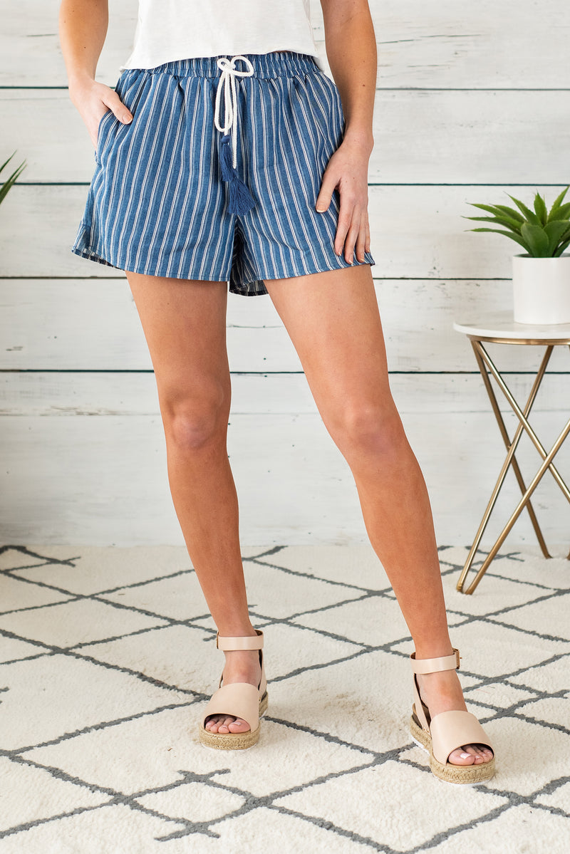 Yacht Club Pin Stripe Shorts : Denim Blue
