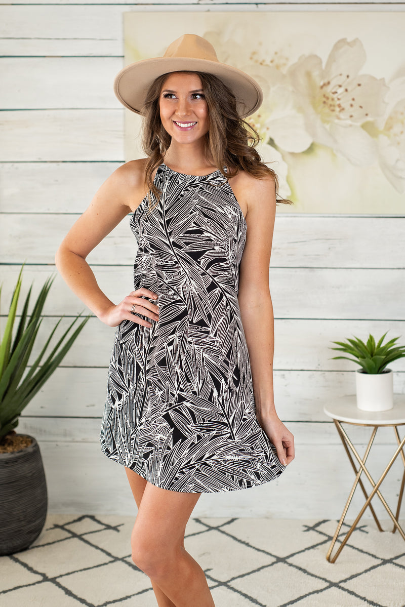 Tropics Await Shift Dress : Black & Taupe