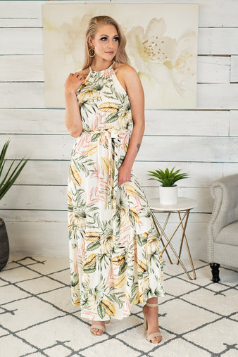 Hawaiian Breezes Halter Maxi Dress : Ivory/Sage/Yellow/Pink