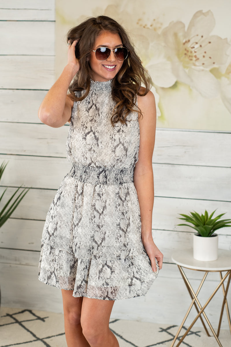 Formal Affair Snakeskin Smocked Dress : Grey