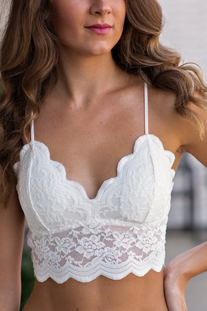 Secrets Kept Lace Bralette : White