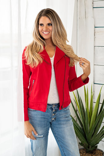 Night in the Lights Soft Liverpool Moto Jacket : Red