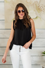 Feeling Pretty Ruffled Sleeveless Blouse : Black