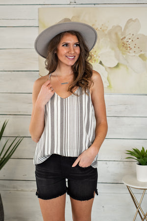 Patio Party Sleeveless Blouse Tank : Ivory, Black