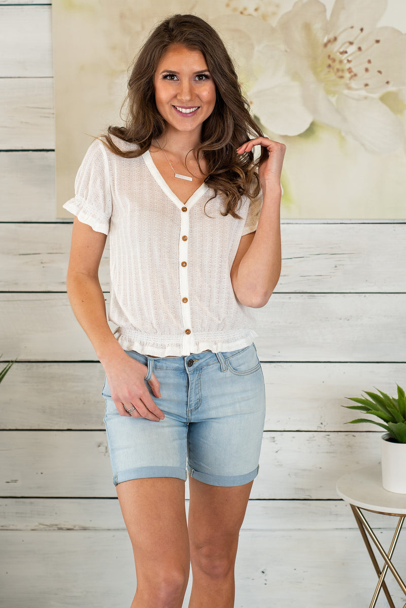 Blissful Escape Puff Sleeve Top : Ivory