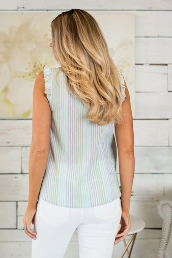 Clear Skies Striped Blouse : Mint/Lavendar/Gold