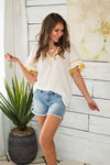 Bahama Vacation Fringe Top : Ivory/Mustard