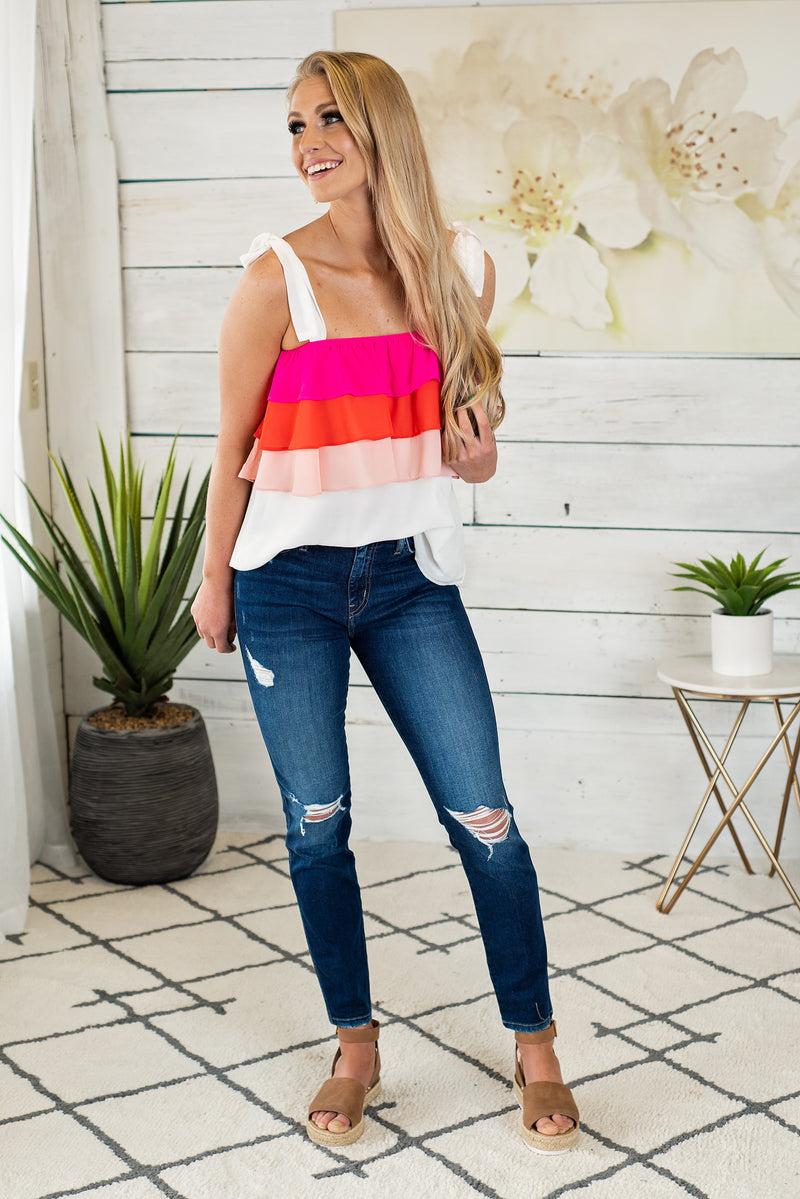 Fruit Punch Ruffle Sleeveless Blouse : Ivory/Fuchsia/Coral