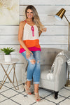 Party Plans Halter Sleeveless Blouse: Fuchsia/Orange/Natural