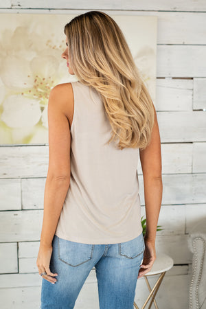 Lunch Date Brushed Modal Sleeveless Top : Stone