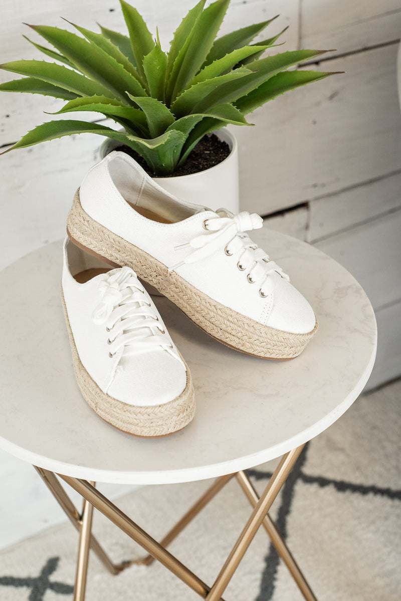 Gianna Canvas Espadrille Sneakers : White