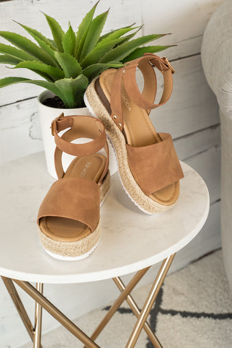 Candide Espadrille Wedge Sandals : Tan