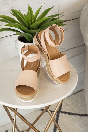 Candide Espadrille Wedge Sandals : Nude