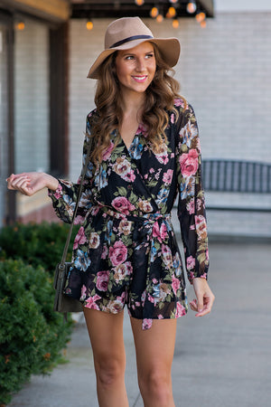 Sweetest Hour Floral Romper : Black/Floral