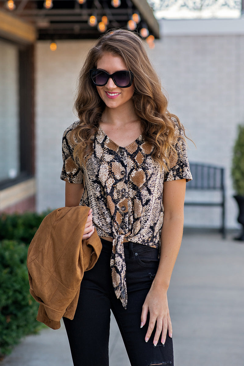 Snake Me Away Ribbed Snake Print Top : Brown