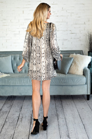 Pause For Perfection Snake Print Dress : Taupe/Black/Ivory