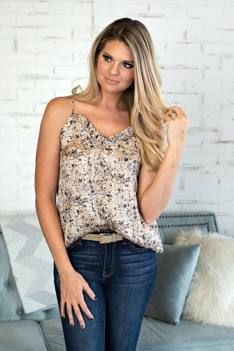 Stop The Show Gold Speck Tank : Beige/Gold/BLK