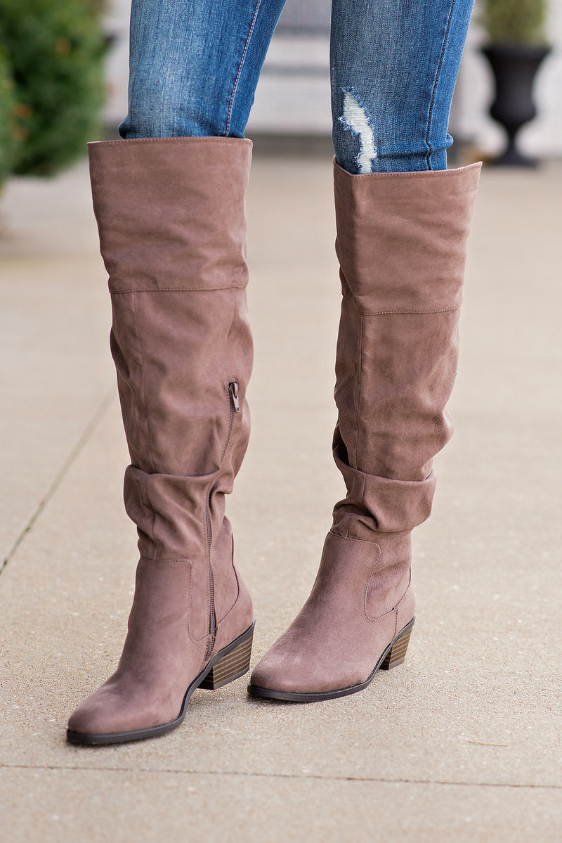Tall Story Over The Knee Boots : Dark Earth