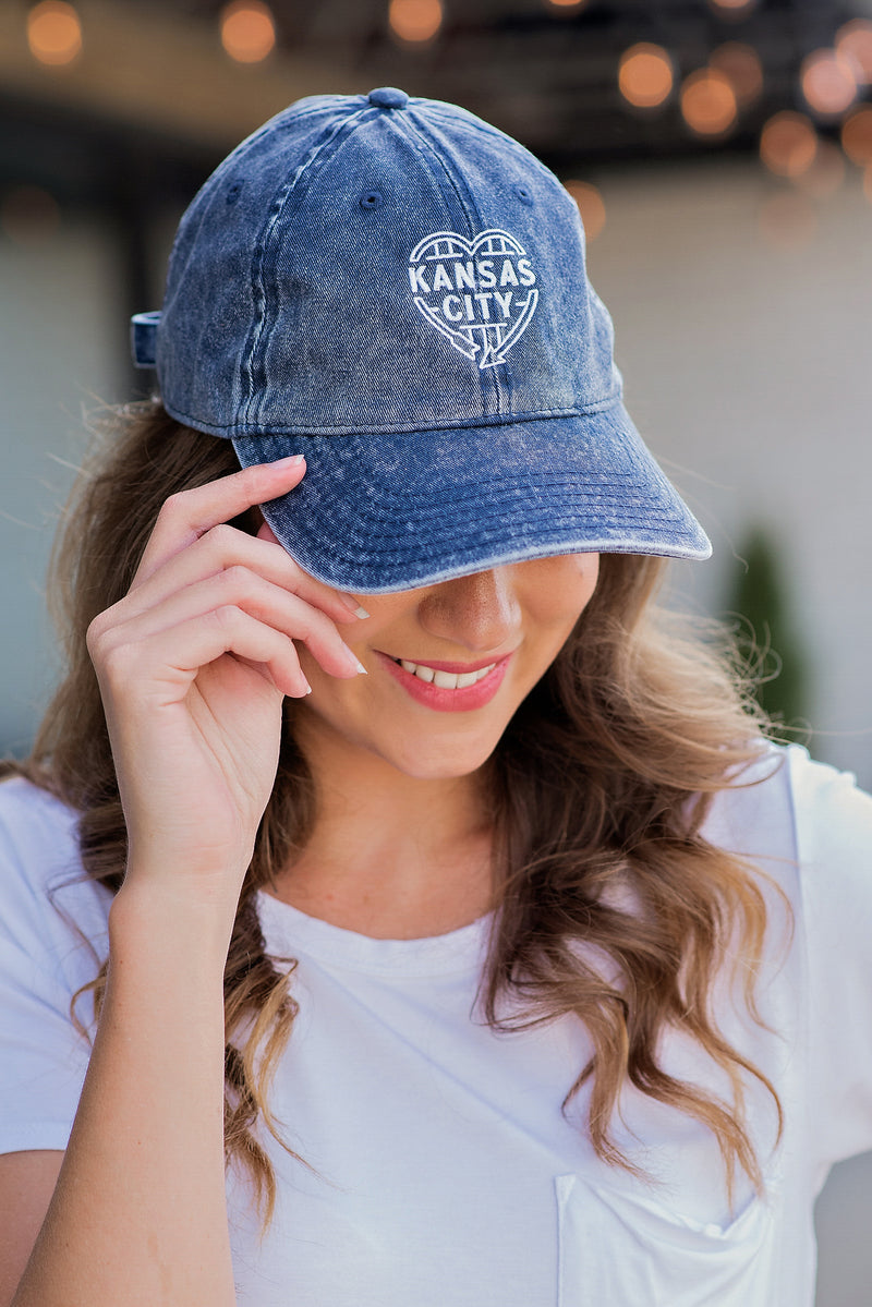 Flint & Field Kansas City Heart Hat : Distressed Blue